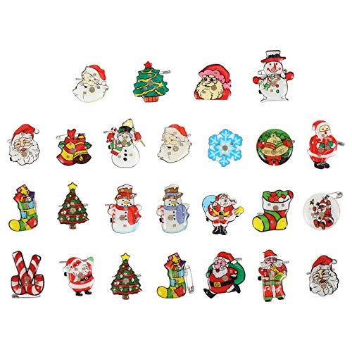 TOYANDONA 25pcs LED Brooch Christmas Brooch Pin Santa Claus Badge Brooch Flashing Light Brooch Jewelry Gift for Children Gift Party Favors (Random Color)