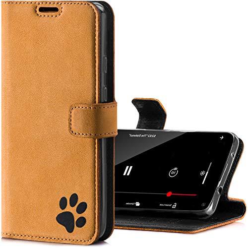 SURAZO Handyhülle für S20 FE hülle – Premium RFID Echt Lederhülle Schutzhülle mit Pfotenmotiv – Wildleder Klapphülle Wallet case mit Standfunktion Handmade in Europa für Samsung Galaxy S20 FE 4G/5G