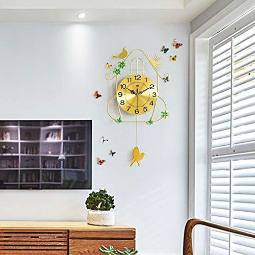 Creatieve Smeedijzeren Slinger Wandklok, Moderne Decoratieve Mode Stille Wandklokken Voor Woonkamer Kantoor Slaapkamers Keuken, 70 * 36Cm,Gold 2
