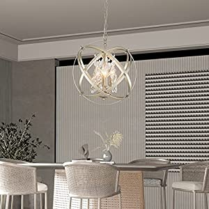 Maxax Globe 4 Lights Crystal Chandelier, Industrial Sphere Cage Ceiling Lighting Raindrop Metal Shade, Adjustable Hanging Pendant Light for Dining Room, Living Room, Foyer, E12 Base, Gold