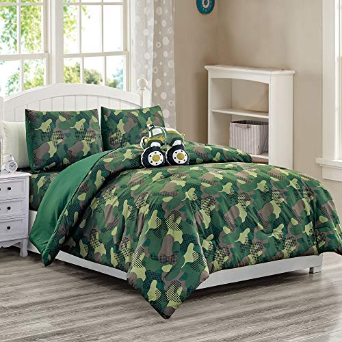 WPM Kids Collection Bedding 4 Piece Boys Army Green Twin Size Comforter Set with Sheet Pillow sham and Military Truck Toy Desert Camouflage Uniform Design (Camouflage Military, Twin Comforter)