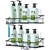 Nieifi Shower Caddy Shelf with Hooks Storage Rack Organizer Adhesive Stainless Steel without Drilling for Bathroom, Lavatory, Washroom, Restroom, Shower, Toilet, Kitchen - 2 Pack (Black)