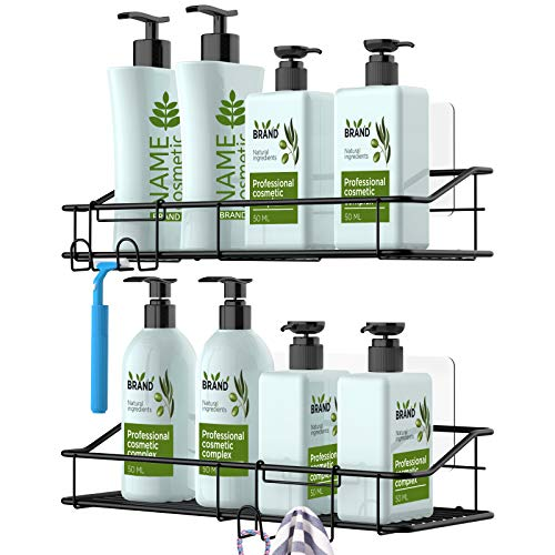 Nieifi Shower Caddy Shelf with Hooks Storage Rack Organizer Adhesive Stainless Steel without Drilling for Bathroom, Lavatory, Washroom, Restroom,...