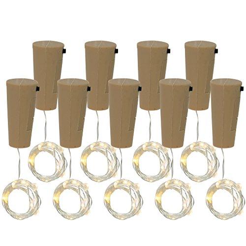 COM-FOUR® 9x LED-flesverlichting - kurk kerstverlichting voor wijnflessen - mini-LED-verlichting met batterij - sfeerlicht in warm wit (09 stuks)