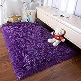 YJ.GWL Super Soft Faux Sheepskin Fur Area Rugs for Bedroom Floor Shaggy Plush Carpet Faux Fur Rug Bedside Rugs, 3 x 5 Feet Rectangle Purple