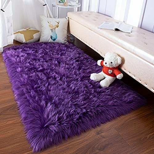 YJ.GWL Soft Faux Fur Area Rugs for Bedroom Floor Shaggy Plush Living Room Carpet Fluffy Fuzzy Rug Bedside Rugs, 3 x 5 Feet Rectangle Purple