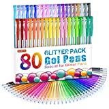 Shuttle Art 80 Pack Glitter Gel Pens, 40 Colors Glitter Gel Pen Set with 40 Refills for Adult Coloring Books Craft Doodling