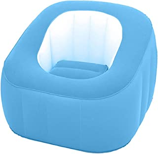 sofa Detachable Cushion Inflatable Couch Camping Gaming Single Flocked Inflatable Couch and Air Chair Unisex Inflatable cm Blue