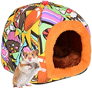 PETLOFT Small Animal Hideaway Bed, Warm Winter Bed Hut Hooded Cave Pet House Sleepers for Small Animals Hamster Gerbil Squ...