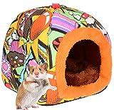 PETLOFT Camas para Mascotas Pequeños, Small Animal Hideaway Cálida Cama de Invierno Jaula Hamster para Animales Pequeños Hámster Ardilla de Jerbo Chinchilla con Almohadilla Extraíble - Naranja