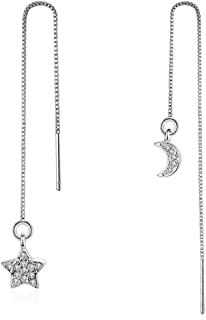 Sterling Silver Plated asymmetric AB Style CZ Moon and star Ear Line Threader Dangle Drop Earrings