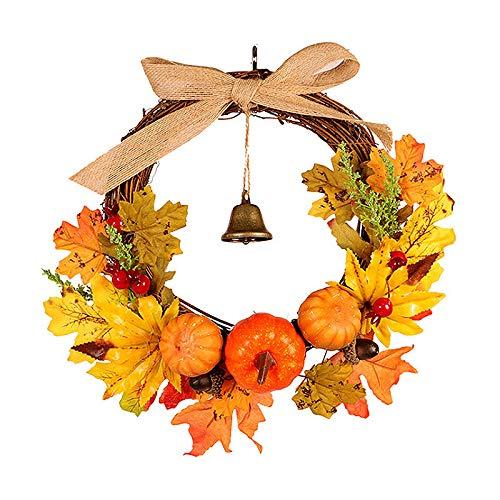 RB herfstkrans voor voordeur, 12 inch herfstherfstoogst Thanksgiving krans met pompoenen, esdoornblad en bes voor seizoensdecoratie