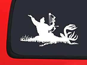 Archery Bow Hunter With Whitetail Buck - White Hunting window decal sticker