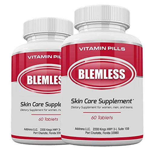 Blemless 2 Pack 120 Tablets Clear Skin Supplements Pill UK- Best Tablets for Oily Skin and a Glowing Complexion | Vitamin Pills for Women & Men That May Help Some Spots & Blemishes