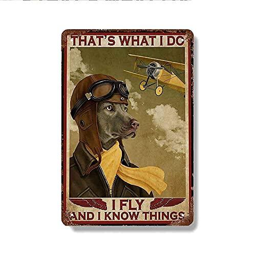 Cartel de metal vintage de 30,5 x 40,6 cm con diseño de perro Piloto I Fly and I Know Things, adecuado para bar, cafetería, restaurante, garaje, baño, cocina, decoración de pared