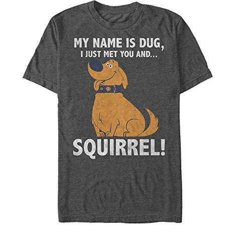 Fifth Sun Up Men's My Name is Dug Squirrel Charcoal Heather T-Shirt