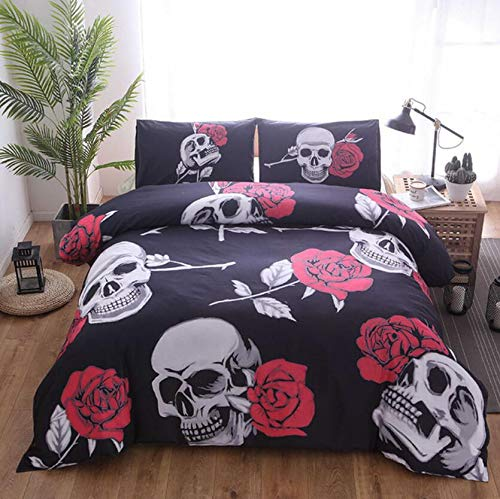 AJ WALLPAPER 3D Red Flowers 31584 Bettwäsche-Set, Kissenbezüge, Bettbezug-Set, Einzelbett, Queen-Size-Bett, 3D-Foto-Bettwäsche, Motiv: UK Angelia (Doppelbett: 200 x 200 cm ± 4 cm)
