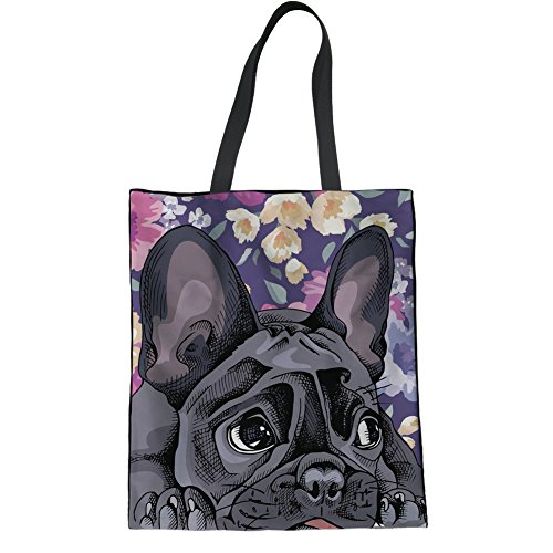 UNICEU Reusable Grocery Bags French Bulldog Printing Cotton Shopping Tote Handbag Fashion Durable Canvas Bag