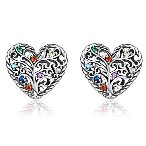 Qings Pendientes Corazón Árbol de la Vida, Plata de Ley 925 Mujeres Hipoalergénicos Pendientes con Circonitas Cúbicas para Mujer Niñas