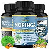 Organic Moringa Extract Capsules 6450MG, 3 Months Supply with Ashwagandha, Tulsi, Ginger, Turmeric Multi Vitamin Oleifera Leaf Herb Support Immune System, Energy Booster Anti-Inflammatory Supplements