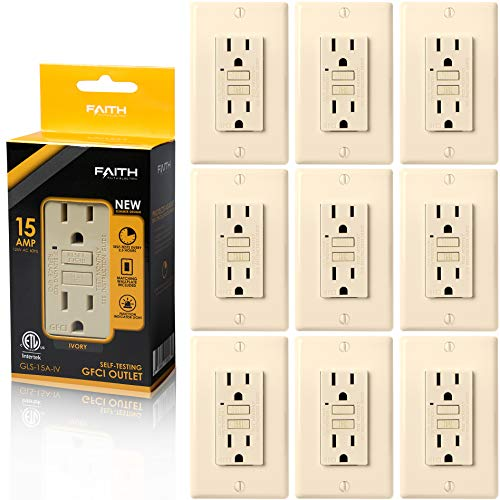 Faith [10-Pack] 15A GFCI Outlets, Non-Tamper-Resistant GFI Duplex Receptacles with LED Indicator, Self-Test Ground Fault Circuit Interrupter with Wall Plate, ETL Listed, Ivory, 10 Piece