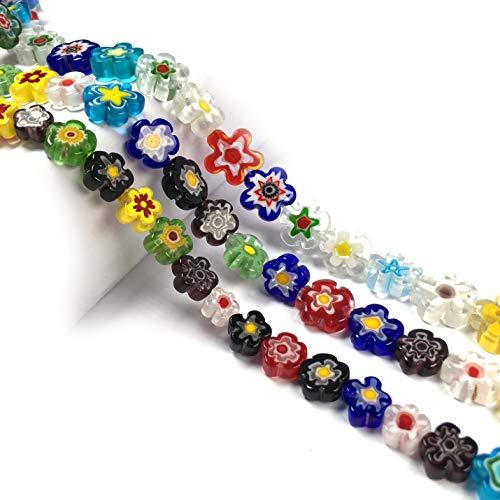 9 11 1 M Mil Flores Cuentas De Cristal De Murano Forma De Ciruela Cuentas Sueltas DIY Pulsera Collar Accesorios De Fabricación De Joyas-1M