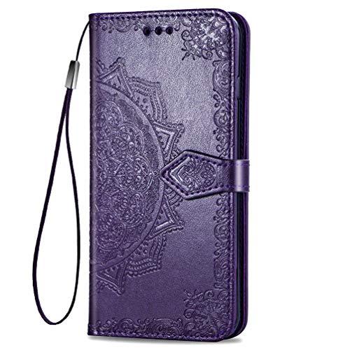 KERUN Hülle für Xiaomi Pocophone F2 Pro Flip Lederhülle, 3D Mandala Muster Geprägte Prägung Handyhülle, Premium Leder Brieftasche Handytasche Schutzhülle mit Kartenfach Standfunktion.Lila