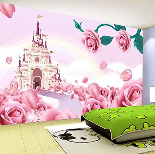 3D vliesbehang van plantenvezel aanpassen, groot vliesbehang 3D-cartoon prinseskader, fotobehang, kinderkamer, decoratie, stro-textuur, wandschilderijen Prinses 250*175 250 x 175 cm.