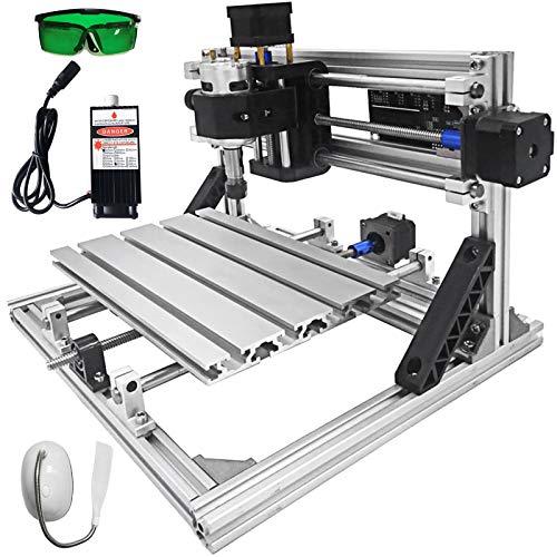 VEVOR Máquina de Grabado CNC 2418 DIY, Kit de Enrutador de 3 Ejes con Velocidad de 10.000 rpm/min 500 mW, Máquina Grabador Láser Fresadora para Madera PVB PCB, con Tablero de Control GRBL 3 Motores