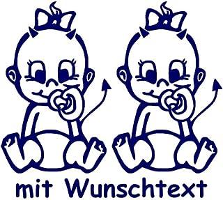 Babyaufkleber für Zwillinge mit Wunschtext   Motiv Z27 MM (16 cm)