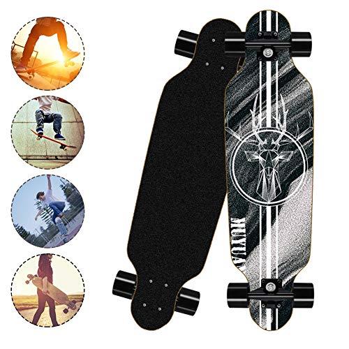 SKATECHUN Standard Skateboards Cruiser, Longboard Double Kick Skateboard Cruiser mit 8 Lagen Ahorn Deck, Brush Street Long Board für Kinder/Jungen/Mädchen/Jugendliche/Erwachsene,B