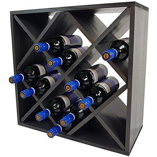 SunDeluxe Weinregal Bacchus XX-Cube - Flaschenregal 52 x 52 x 25 cm mit X-Form - Weinständer für bis zu 24 Flaschen, Farbe:Anthrazit