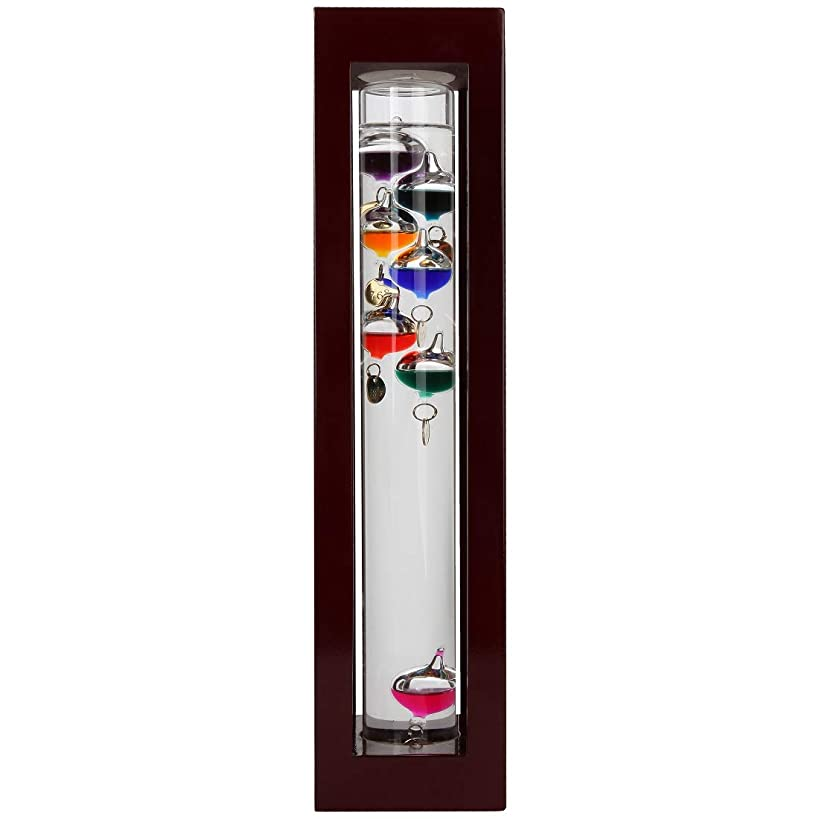 Lily's Home Galileo Thermometer in a Wood Frame Mahogany Finish, A Timeless Design That Measures Temperatures from 60oF to 84oF, with 7 Multi-Colored Spheres (15 Inches Tall)