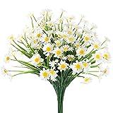 Ruiuzioong Flores artificiales de margarita, 4 unidades, para decoración al aire...