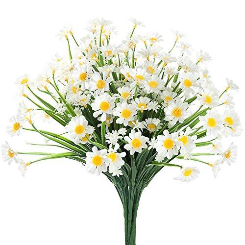 Ruiuzi - Flores artificiales para decoración de exteriores, 4 unidades, no se decoloran, de plástico sintético, para jardín, porche, para colgar en casa de campo o ventana
