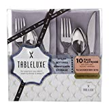 WNA 40 Piece Tableluxe Faux Flatware with Napkins, Gray/Silver
