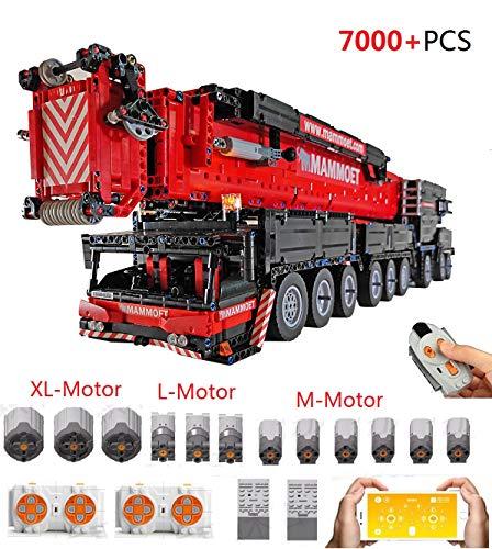 PEXL Technic Grúa Móvil Liebherr LTM1500-9.1 Set de Construcción, 1:20 2.4G/App RC Maqueta Camión Grúa Todoterreno para Construir, 7000 Technic Bloques y 12 Motor