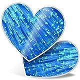 Impresionante pegatinas de corazón de 7,5 cm – Divertidas calcomanías de cable de fibra óptica azul para portátiles, tabletas, equipaje, reserva de chatarra, frigorífico, regalo genial #12530