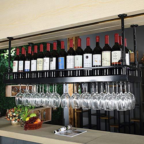 URINGO European Style Iron Hanging Wine Glass Rack Wine Rack Ceiling Decoration Shelf for Bars,Industrial Vintage Bar Floating Shelf,Restaurants Storage - fits as Mug Racks