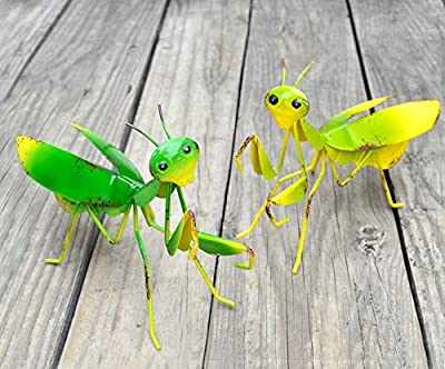 GIFTME 5 Metal Mantis Garden Yard Art Decor Set of 2 Lawn Patio Tree Ornaments Sculpture