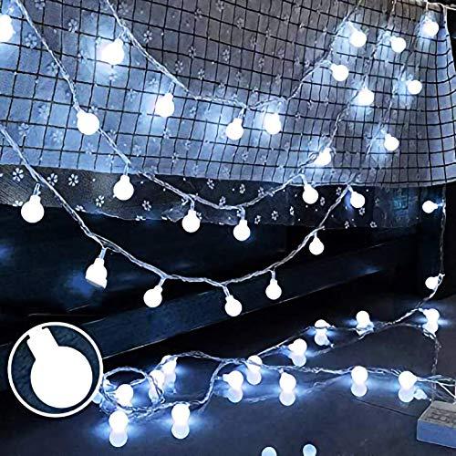 JP-LED Catena Luminosa Di Luci Led 13M【filo di 100 lampadine 10M e Cavo Di Prolunga 3M】Luci Da Esterno E Interno Con 8 Modalità Flash. Per Giardino, Casa, Feste, Natale, Decorazioni. Luce Fredda