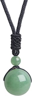iSTONE Unisex Genuine Round Gemstone Beads Pendant Necklace with Adjustable Nylon Cord 25 Inch