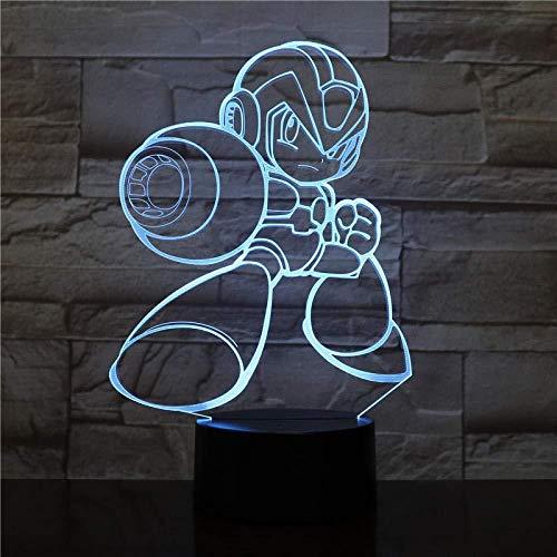 3D Illusion Lampe führte Nachtlicht USB Rockman Figur mehrfarbige dekorative Jungen Kind Kinder Baby Geschenke Spiel Megaman Tischlampe Nachttisch
