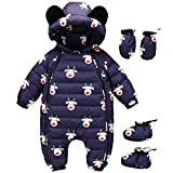 Baby Christmas Hooeded Romper Down Snowsuit with Gloves Booties Winter Outfits Set Blue 12-18 Months