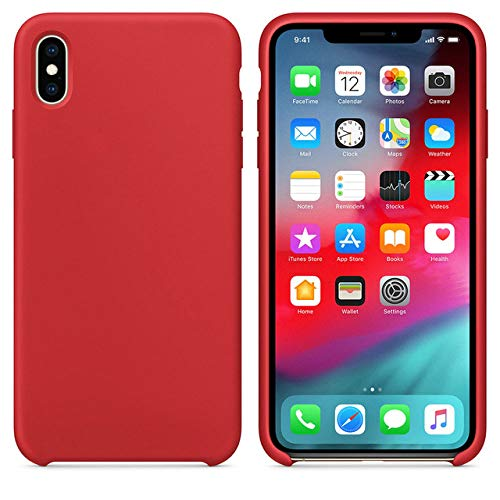 JLFDHR Funda de Silicona Oficial Original para Apple iPhone 7 8 6 6s Plus 5 5s SE Funda para iPhone 6 7 X XS MAX XR Funda de teléfono sin Logo-para iPhone 7 8 Plus-Rojo