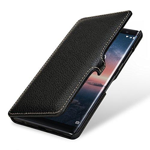 StilGut Book Type Hülle, Hülle Leder-Tasche kompatibel mit Nokia 8 Sirocco, Schwarz mit Clip