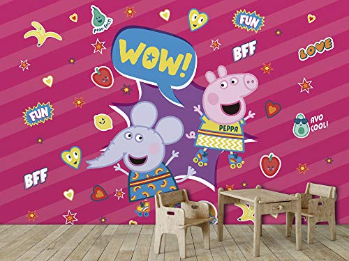 Papel Pintado de Pared Peppa Pig Peppa y Emily Diversión Fondo Rosa Producto Oficial   400x300 cm   Papel Pintado para Paredes   Producto Original  Decoración Hogar  