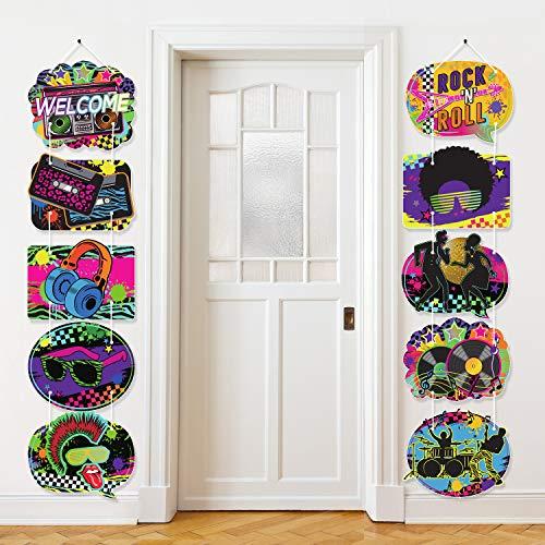 Decoración de fiesta de los años 80 con cinta de casete retro para puerta de los años 80, cartel de porche, decoración para fiestas de cumpleaños