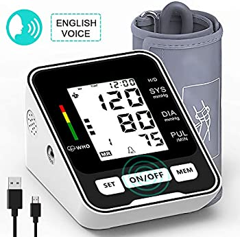 XinXu Upper Arm Blood Pressure Monitor with LCD Display & Voice Function
