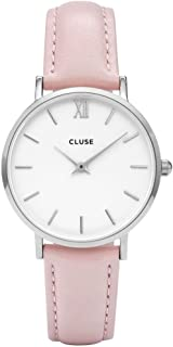 CLUSE Minuit Round 33mm Silver White Analog Display Quartz Women's Watch, Leather Band